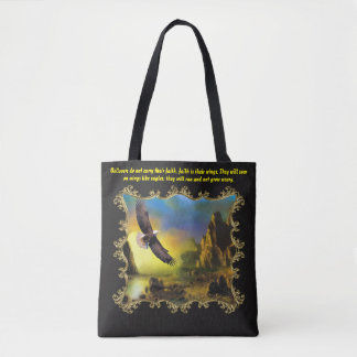 They will soar on wings like eagles. gold frame tote bag