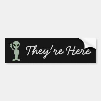 They're Here, Aliens UFO Bumper Sticker
