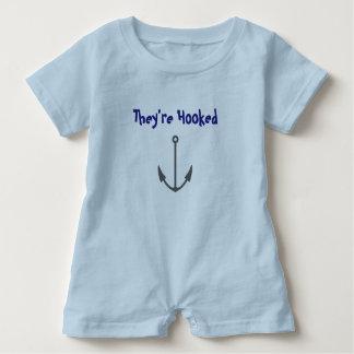 They're Hooked humor baby bodysuit romper