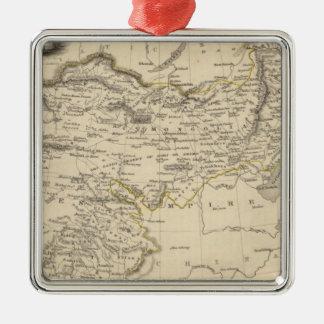 Thibet, Mongolia, and Mandchouria Silver-Colored Square Ornament