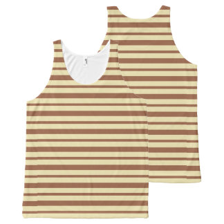 Thick and Thin Beige and Brown Stripes All-Over-Print Tank Top