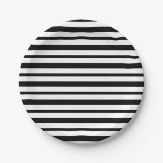 Thick and Thin  Black and White Stripes Paper Plate