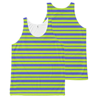 Thick and Thin Blue and Lime Green Stripes All-Over-Print Tank Top