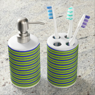 Thick and Thin Blue and Lime Green Stripes Bathroom Set