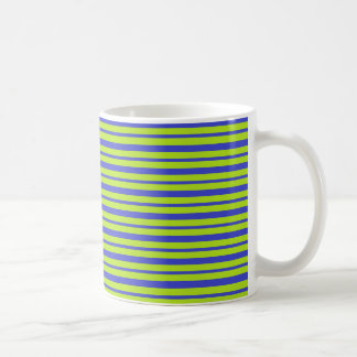 Thick and Thin Blue and Lime Green Stripes Coffee Mug