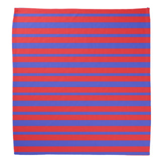 Thick and Thin Blue and Red Stripes Bandana