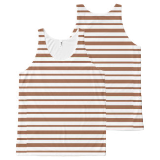 Thick and Thin Brown and White Stripes All-Over-Print Tank Top