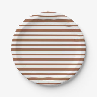 Thick and Thin Brown and White Stripes Paper Plate