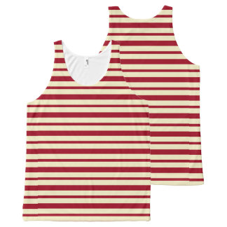 Thick and Thin Burgundy and Cream Stripes All-Over-Print Tank Top