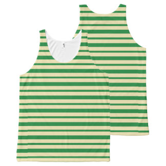 Thick and Thin Dark Green and Beige Stripes All-Over-Print Tank Top