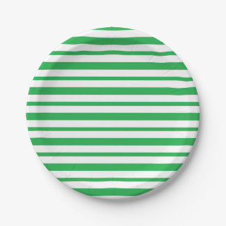 Thick and Thin  Green and White Stripes Paper Plate