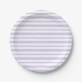 Thick and Thin Lavender and White Stripes Paper Plate