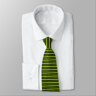 Thick and Thin Lime Green and Black Stripes Tie