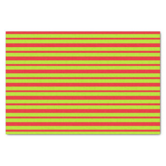 Thick and Thin Lime Green and Red Stripes Tissue Paper