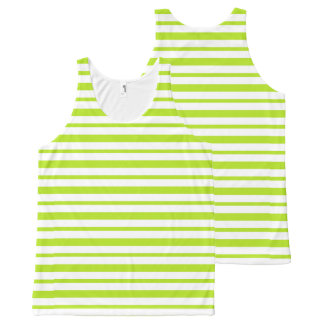 Thick and Thin Lime Green and White Stripes All-Over-Print Tank Top