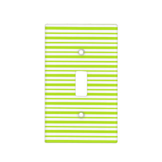 Thick and Thin Lime Green and White Stripes Light Switch Cover