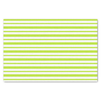 Thick and Thin Lime Green and White Stripes Tissue Paper