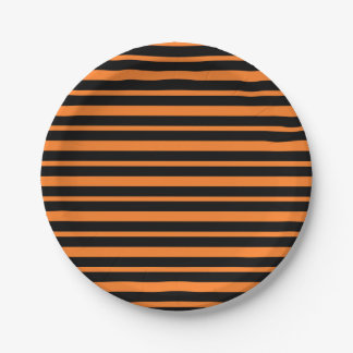 Thick and Thin Orange and Black Stripes Paper Plate