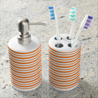 Thick and Thin Orange and White Stripes Bathroom Set