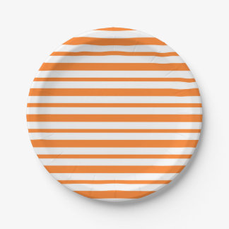 Thick and Thin Orange and White Stripes Paper Plate