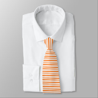 Thick and Thin Orange and White Stripes Tie