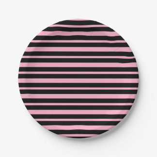 Thick and Thin Pink and Black Stripes Paper Plate