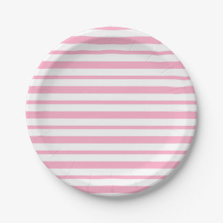 Thick and Thin Pink and White Stripes Paper Plate