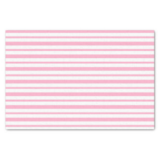 Thick and Thin Pink and White Stripes Tissue Paper