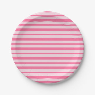 Thick and Thin Pink Stripes Paper Plate