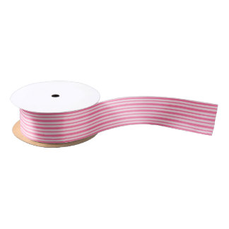 Thick and Thin Pink Stripes Satin Ribbon