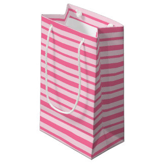 Thick and Thin Pink Stripes Small Gift Bag