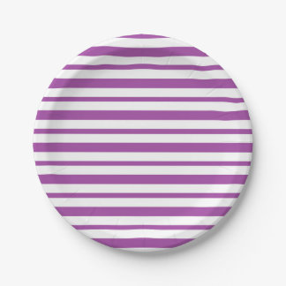 Thick and Thin  Purple and White Stripes Paper Plate