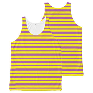 Thick and Thin Purple and Yellow Stripes All-Over-Print Tank Top