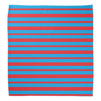 Thick and Thin Red and Turquoise Stripes Bandana