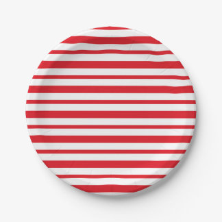 Thick and Thin  Red and White Stripes Paper Plate