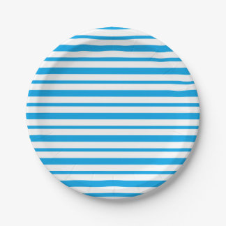 Thick and Thin Turquoise and White Stripes Paper Plate