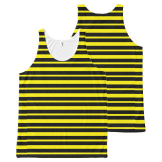 Thick and Thin Yellow and Black Stripes All-Over-Print Tank Top