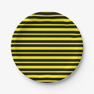Thick and Thin Yellow and Black Stripes Paper Plate