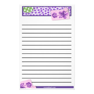 Thick Line Floral Stationery