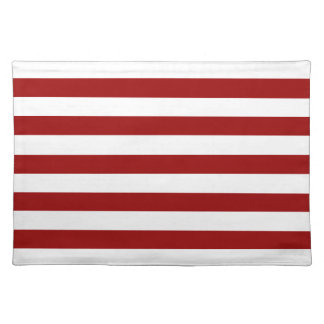 Thick Red and white lines, geometric pattern Placemat