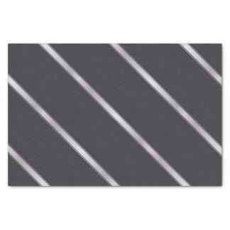 Thick Silver Metallic Diagonal Stripes Tissue Paper