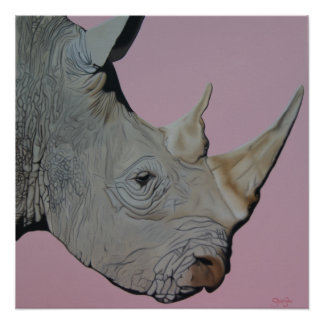 """Thick Skinned"" Rhino on pink background. Perfect Poster"