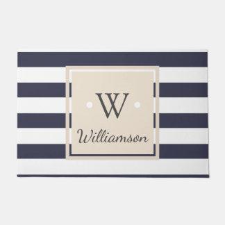 Thick White Modern Stripes - Family Name Monogram Doormat