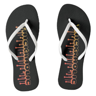 Thickaholic, Red, Gold & Black Adult, Slim Straps Flip Flops