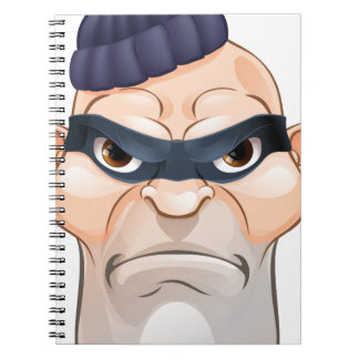 Thief or Burglar Criminal Cartoon Character Notebook