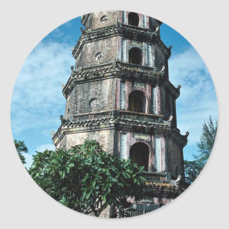 Thien Mu Pagoda, banks of Perfume River, Hue, Viet Classic Round Sticker