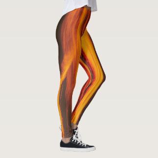 Thighs on fire , orange red black clouds legging