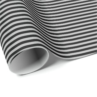 Thin Black and Gray Stripes Wrapping Paper
