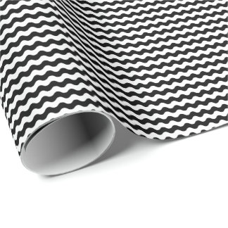 Thin Black and White Waves Wrapping Paper