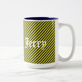 Thin Black and Yellow Diagonal Stripes Two-Tone Coffee Mug